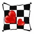 Orchidea Check Hearts Cushion Cross Stitch Kit