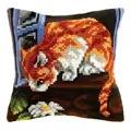 Orchidea Curious Cat Cushion Cross Stitch Kit