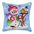 Orchidea Snowman and Birds Cushion Christmas Cross Stitch Kit