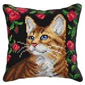 Orchidea Cat in Roses Cushion Cross Stitch Kit