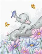 Luca-S Elephant with Butterfly Cross Stitch Kit