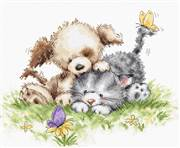 Luca-S Dog, Cat and Butterfly Cross Stitch Kit