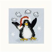 Bothy Threads PPP Playing Snowballs Christmas Card Making Cross Stitch Kit