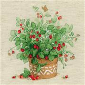 RIOLIS Strawberries in a Pot Floral Cross Stitch Kit