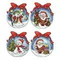 Orchidea Santa and Snowman Bauble Ornaments Christmas Cross Stitch Kit