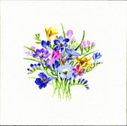 Heritage Freesia Posy - Evenweave Cross Stitch Kit