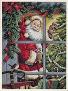 Dimensions Candy Cane Santa Christmas Cross Stitch Kit
