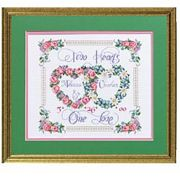 Janlynn Two Hearts, One Love Wedding Sampler Cross Stitch Kit