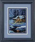 Dimensions Moonlit Cabin Cross Stitch Kit