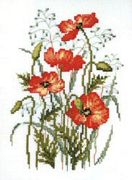 Pako Poppies and Quaking Grass Cross Stitch Kit