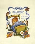Pako Mouse in Cradle Birth Sampler (Boy) Cross Stitch Kit