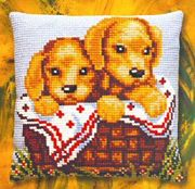 Pako Puppies in a Basket Cross Stitch Kit