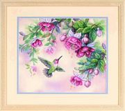 Dimensions Hummingbird and Fuchsias Cross Stitch Kit