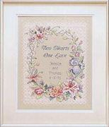 Dimensions Two Hearts Wedding Record Wedding Sampler Cross Stitch Kit