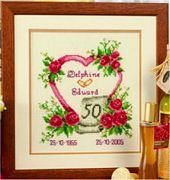 Vervaco Wedding Anniversary Wedding Sampler Cross Stitch Kit