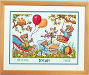 Vervaco Bear Playtime Birth Sampler Cross Stitch Kit