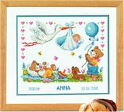 Vervaco Stork Delivery to Bears Birth Sampler Cross Stitch Kit