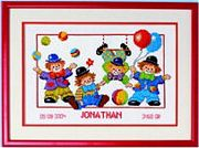 Vervaco Clown Birth Announcement Birth Sampler Cross Stitch Kit