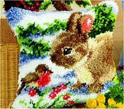 Rabbit and Robin Cushion - Vervaco Latch Hook Kit