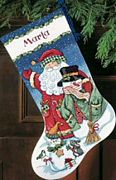 Dimensions Santa and Snowman Stocking Cross Stitch Kit