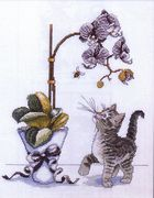 Orchid Kitty - Design Works Crafts Cross Stitch Kit