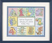 Zoo Alphabet Birth Record - Dimensions Cross Stitch Kit