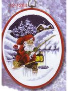 Permin Fishing Santa Christmas Cross Stitch Kit