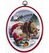 Permin Santa Feeding the Pony Christmas Cross Stitch Kit