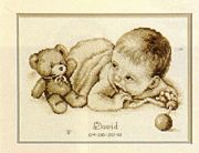 Vervaco Baby with Teddy Birth Record Cross Stitch Kit
