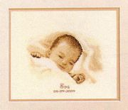 Vervaco Sleeping Baby Birth Sampler Cross Stitch Kit