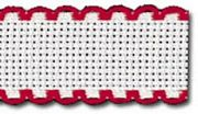 Zweigart Aida Band - 14 count - 19 White/Red (7107) Fabric