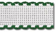 Zweigart Aida Band - 14 count - 166 White/Green 7107 Fabric