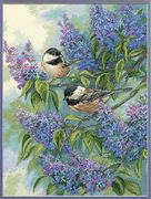 Chickadees and Lilacs - Dimensions Cross Stitch Kit