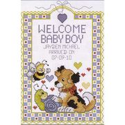 Janlynn Welcome Baby Boy Birth Sampler Cross Stitch Kit