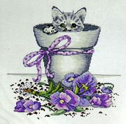 Flower Pot Kitty - Design Works Crafts Cross Stitch Kit