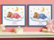 Vervaco Teddy on Cloud Birth Record Birth Sampler Cross Stitch Kit