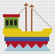 Fat Cat Sew Simple Fishing Boat Cross Stitch Kit