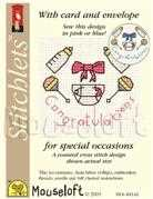 Mouseloft Congratulations Birth Sampler Cross Stitch Kit