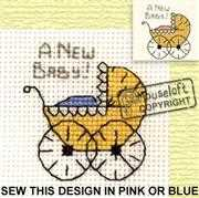 Mouseloft Pram Birth Sampler Cross Stitch Kit