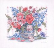 Eva Rosenstand Floral Vase - Aida Cross Stitch Kit