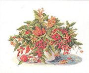 Eva Rosenstand Vase of Berries - Linen Cross Stitch Kit