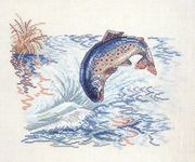 Leaping Salmon - Eva Rosenstand Cross Stitch Kit