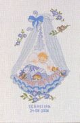 Eva Rosenstand Blue Baby Crib Birth Record Birth Sampler Cross Stitch Kit