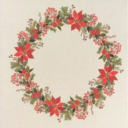 Poinsetta Wreath Tablecloth - Linen - Eva Rosenstand Cross Stitch Kit