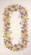 Eva Rosenstand Yellow and Purple Garland Tablecloth Cross Stitch Kit