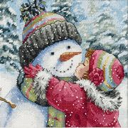 Dimensions Kiss for a Snowman Cross Stitch Kit