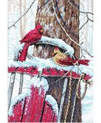 Dimensions Cardinals on a Sled Cross Stitch Kit