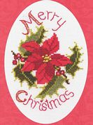 Derwentwater Designs Poinsetta and Holly Christmas Card Making Cross Stitch Kit