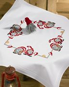 Elves and Hearts Tablecloth - Permin Embroidery Kit