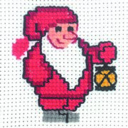 Santa and Lantern - Permin Cross Stitch Kit